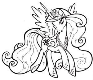 Раскраска Пони Принцесса Селестия