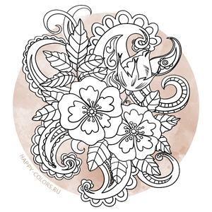 Раскраски Цветы Антистресс